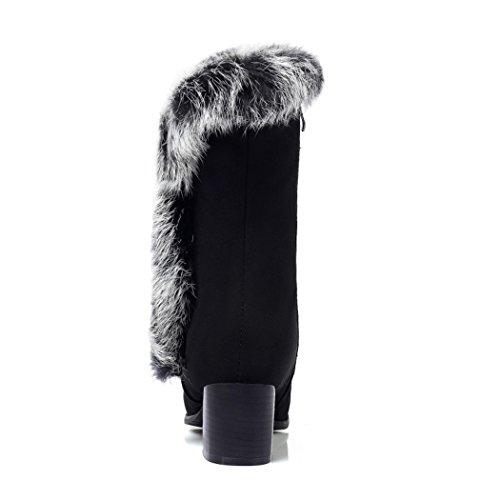 invierno redonda con lado cálidas salvaje cabeza botas hembra el ZQ Otoño gruesa Black de QX botas e con Invierno ZZgqYHw