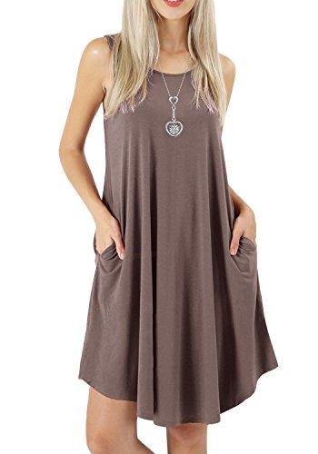 VEIMEILI Summer Sleeveless Flowy Plain Beach T Shirt Pockets Dress For Women Khaki (Sleeveless Beach Dress)