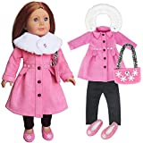 "Girls 18"" Doll Clothes - Stylish Pink Snowy Winter Outfit with Fur Collar Pink Coat,Lovely Pink Bag,Shoes,Black Leggings Fit for 18 inch American Doll"