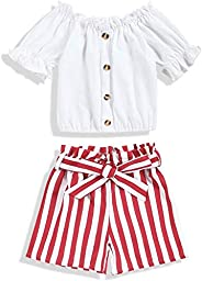 oklady Toddler Baby Girl Clothes Off Shoulder Top Stripe Shorts with Headband Summer Outfit Sets