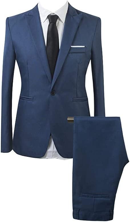 AnyuA Traje Suit de 2 Piezas Manga Larga Blazers para Hombre