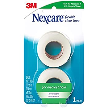 Nexcare Flexible Clear Tape, Hypoallergenic, From the #1 Leader in U.S. Hospital Tapes, 2 Rolls
