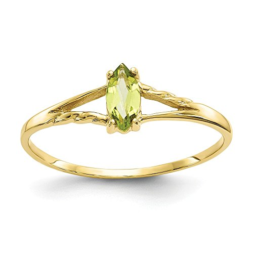 10k Yellow Gold Genuine Peridot Solitaire Engagement Ring 0.25CT