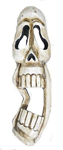 WorldBazzar Hand Carved Skull Scream Skeleton Mask Tiki Totem Wall Art 20