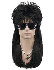 MEIRIYFA Mens 80s Wig Long Straight Wig Black Rocker Punk Wig Mullet Wigs for Costume Cosplay Party Halloween (Straight Black)
