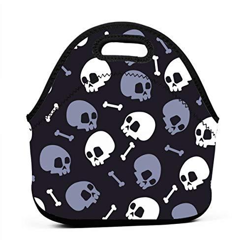 Portable Lunch Bag Tote Skull Bones Halloween Neoprene