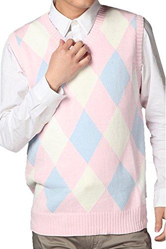 JOKHOO Men's Argyle V-Neck Sweater Vest Pink ()