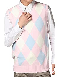 JOKHOO Men's Argyle V-Neck Sweater Vest