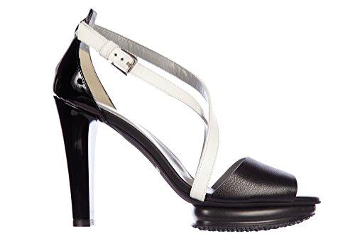 Hogan Damen Leder Sandalen mit Absatz Sandaletten h247 vintage Schwarz
