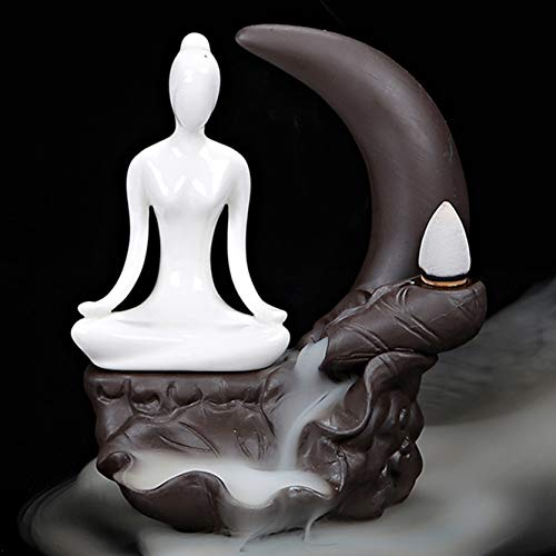 OWMMIZ Meditation Yoga Backflow Incense Burner Waterfall Incense Holders Home Decor Decorations Statue Ornaments Handmade Gift Figurine and 10 Incense Cones