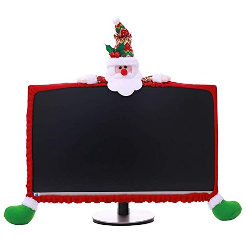 Chris.W Santa Claus Computer Monitor Dust Cover Christmas Decoration for 19