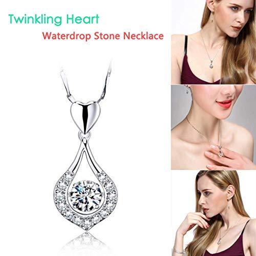 WensLTD Fine Jewelry Gift for Women Twinkling Heart Waterdrop Stone Necklace Women Pendant Necklace