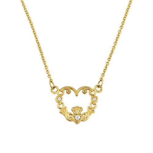 Petits Merveilles D'amour - 14 ct Collier de Diamants 585/1000 Or Pendentif Claddagh