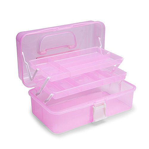 MonkeyJack Plastic 3 Layer Portable Nail Art Makeup Craft Toolbox Organizer Case - Pink