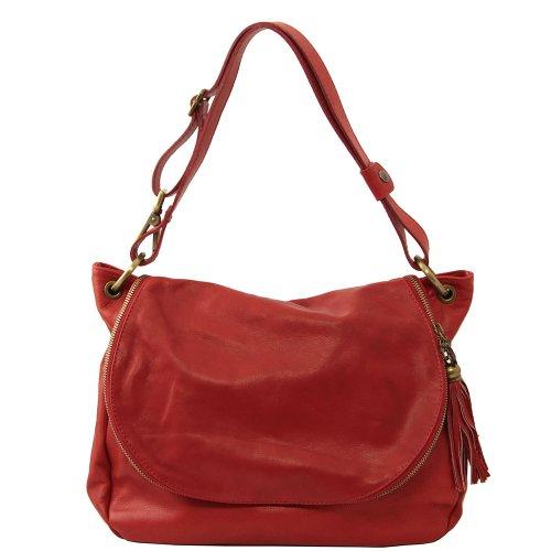 Bolso Al Mujer Piel Tuscany Hombro Para De Leather Rojo Cerdo 5awx4HFx