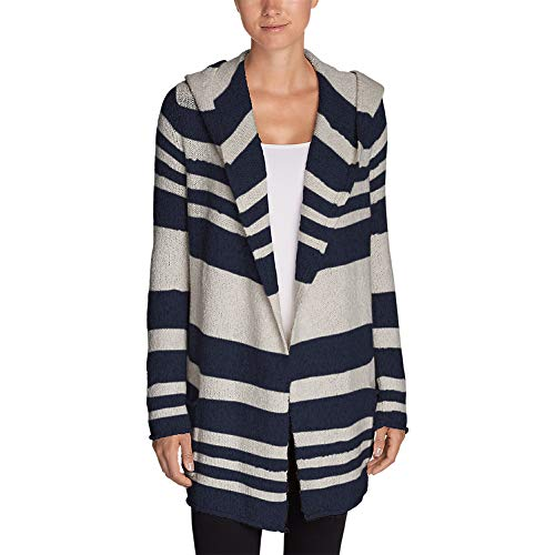 - Eddie Bauer Women's Hooded Sleep Cardigan - Stripe, HTR Indigo Regular XS