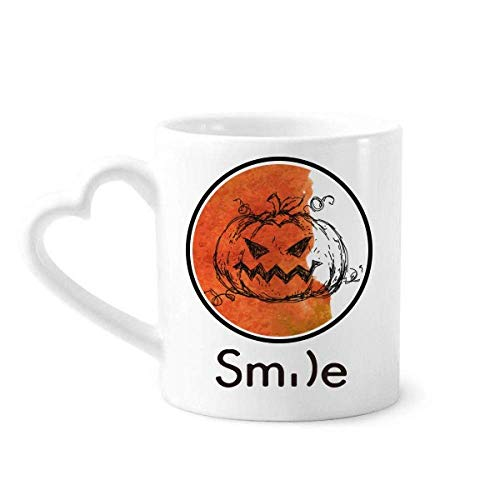 Hand Painted Pumpkin Of Halloween Smile pattern Mug Cup Pottery Heart Handle
