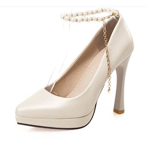 W&LM Sra Tacones altos Cadena de perlas Rebordeado Tacones altos Boca rasa Zapatos individuales Plataforma a prueba de agua Zapato White