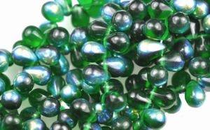 - Czech Glass Beads 9mm Teardrop Green Emerald AB (50)