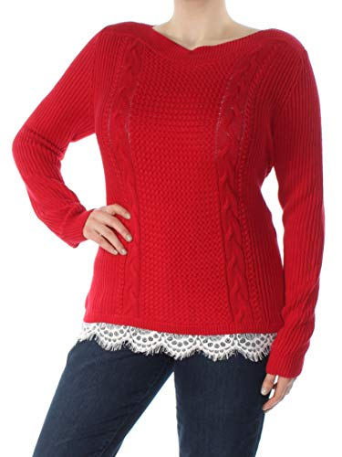 Tommy Hilfiger Womens Winter Knit Pullover Sweater Red XL