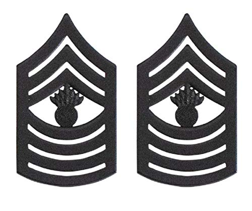Vanguard Marine Corps Chevron: Master Gunnery Sergeant Black Metal, Solid - Master Sergeant Gunnery Usmc