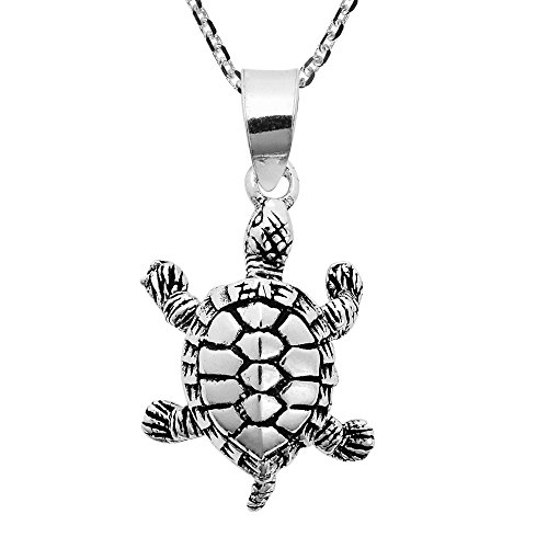 Adorable & Movable Turtle .925 Sterling Silver Pendant Necklace