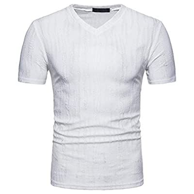GREFER Men's Summer Casual Self-cultivation V Neck Pullover T-Shirt Top Blouse