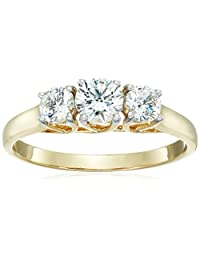 10k Yellow Gold 3-Stone Round Ring Made with Swarovski Zirconia (1 cttw), Size 8