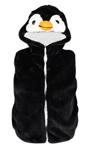 Bioterti Kids' Animal Hooded Vest for Dress Up/ Manufacture/16 Amazing Styles (Small, Penguin)