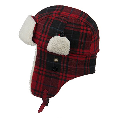 Faux Fur Aviator Trooper Hat - Red White S-M
