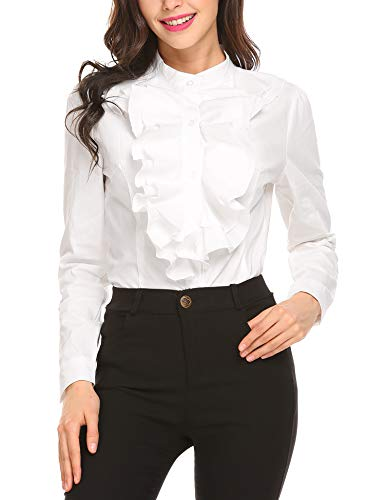Zeagoo Women's Shirts Lotus Ruffle Vintage Long Sleeve Blouse White L