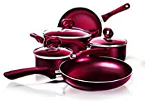 Ecolution 8-Piece Non-Stick Cookware Set, Features Silicone Handles & Tempered Glass, Steam Vented Lids, Red by Ecolution