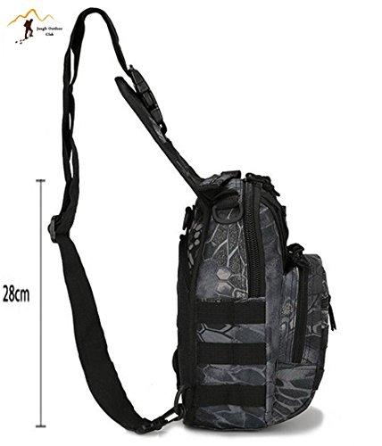 Jungle Oxford tattico borse camouflage molle tasche Wild zaino da escursionismo arrampicata ciclismo BBQ runner piccolo petto borsa, nero