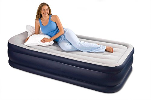 Intex Deluxe Pillow Rest Raised Airbed with Soft Flocked Top for Comfort, Built-in Pillow and Electric Pump, Twin, Bed Height 16.75