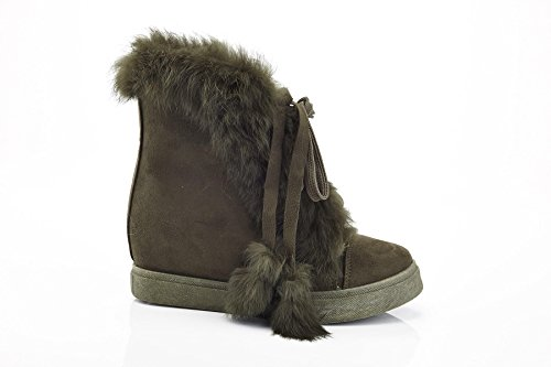 Fashion High Wedge Green Ferrera Womens Fur Sneakers Top Up Henry Lace gwnfBEqx4Z