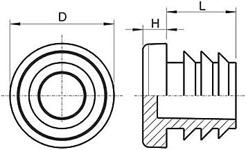 Rohrau/ßendurchmesser: 42mm, Rohrwandst/ärke: 1-2mm, Grau M/öbelgleiter 50 St/ück Rund-Rohrstopfen Lamellenstopfen ALLE GR/Ö/ßEN W/ÄHLBAR 10mm bis 60mm Schutzkappen Rundstopfen