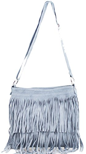 Body Women Suede Shoulder Blue Over Handbags Messenger Ladies Tassel Leather Cross Light Bag Bags wxIxSg16q