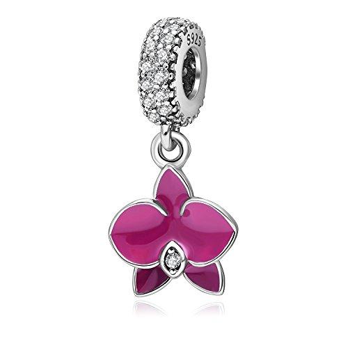 Dangling Orchid Charm - 925 Sterling Silver - Fit DIY Charms Bracelat