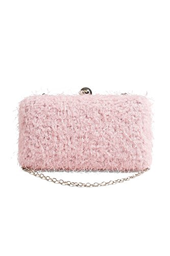 women-fluffy-clutch-bag-hard-box-purse-crossbody-party-handbag-with-chain-strap-pink