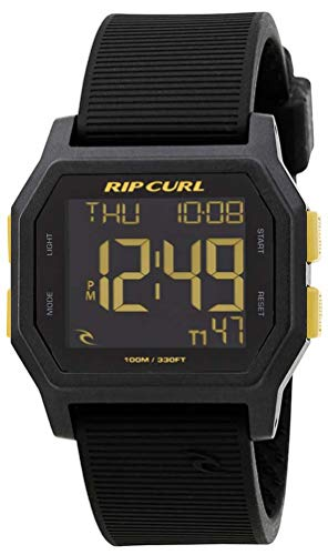 (Rip Curl Men's 'Atom' Quartz Plastic and Silicone Sport Watch, Color:Black (Model: A2701-GOL))