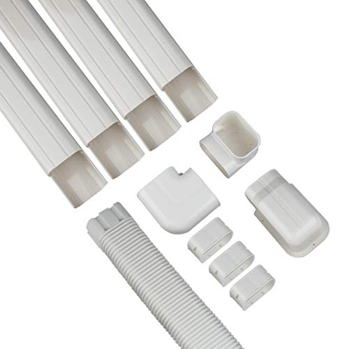 Forestchill 14ft Decorative PVC AC Line Set Cover Kit Tubing Slot for Central Air Conditioner, Mini Split A/C Units and Heat Pump System,Condenser Unit (4in)