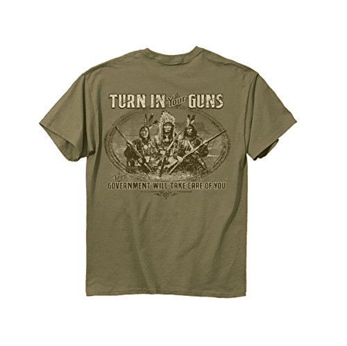 Buck Wear Men's Turn in Your Guns The Government Will Take Care of You T-Shirt, Large, Tan