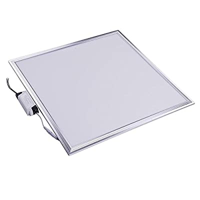DELight 2x2 Ft 48W LED Flat Panel Light, 6000K, Silver Frame, Ultra Thin Edge-lit Glare-Free LED Troffer Office Lighting