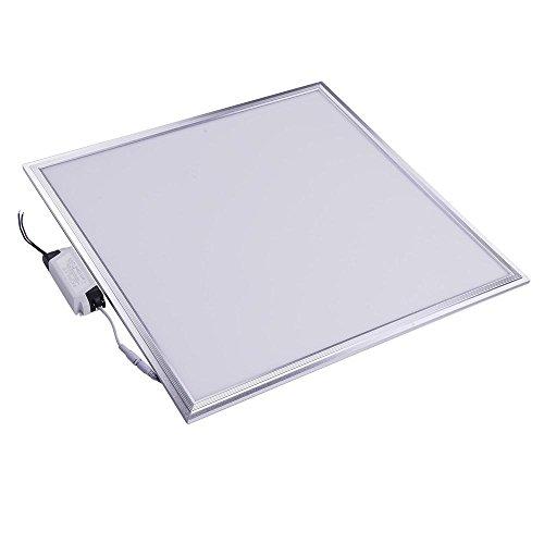 DELight 2x2 Ft 48W LED Flat Panel Light, 6000K, Silver Frame, Ultra Thin Edge-lit Glare-Free LED Troffer Office Lighting