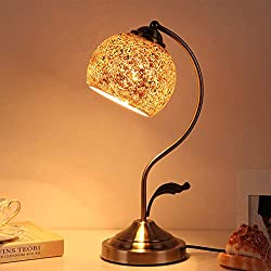 AOKARLIA Modern Antique Brass Tiffany & Decorative Glass Touch Bedside Table Lamp, Retro Style Black and Copper Metal Modern Design Crystal Bedside Table Lamp,Apricot