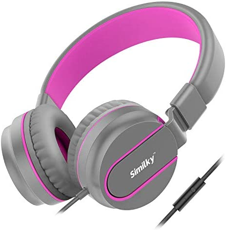 Kids Headphones for School Children- SIMILKY Stereo Tangle-Free 3.5mm Jack Wired Cord On-Ear Headset for Children 8-15 Years Old Pink Grey