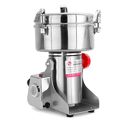 Grain Mill Electric Spice Nut and Coffee Grinder High Speed 25000 RPM Stainless Steel 2800W Powder Machine 50-300 Mesh, for Herbs Corn Sesame Soybean Pepper Bait Feed ()