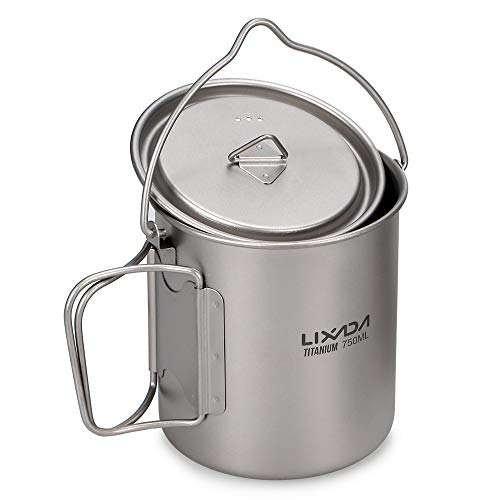 Lixada Titanium Water Mug Cup with Lid and Foldable Handle Ultralight 750ml Titanium Pot Portable Outdoor Camping Cooking Picnic