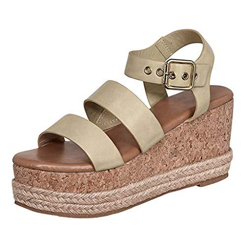 (Women's Wedge Sandals,Star_wuvi Woven Open Toe Ankle Buckle Strap Platform Sandals Roman High Heel Shoes Beige)