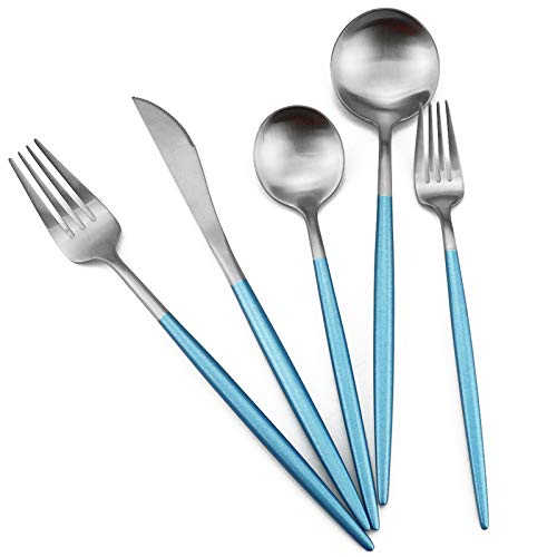 Gugrida Luxury Flatware, Royal 5 Piece Matte Blue Handle 18/10 Stainless Steel Tableware Sets for 1 Including Forks…